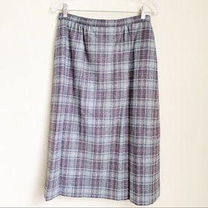Vintage Pendleton plaid wool midi skirt